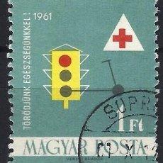 Timbres: HUNGRÍA 1961 - SERVICIO DE SALUD, SEGURIDAD VIAL - USADO. Lote 230002470