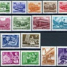 Sellos: HUNGRÍA 1963 IVERT 1555/76 *** SERIE BÁSICA - TRANSPORTES, COMUNICACIONES Y TURISMO. Lote 231182080
