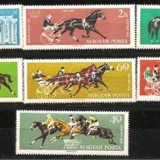 Sellos: HUNGRÍA, YVERT 1459/65, HÍPICA 1961, NUEVO, SIN SEÑAL DE FIJASELLOS. Lote 234336690