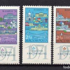 Sellos: HUNGRIA 2091/93** - AÑO 1970 - CENTENARIO DEL SELLO HUNGARO. Lote 234524735