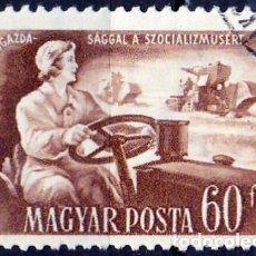 Sellos: 1951 - HUNGRIA - PLAN QUINQUENAL - MUJER TRACTORISTA - YVERT 1016. Lote 236428725
