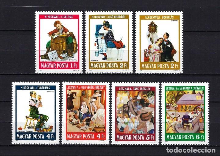 1981 HUNGRÍA MICHEL 3524/3530 YVERT 2785/2791 ILUSTRACIONES MNH** NUEVOS SIN FIJASELLOS (Sellos - Extranjero - Europa - Hungría)
