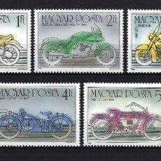 Sellos: 1985 HUNGRÍA MICHEL 3798/3804 YVERT 3016/3022 MOTOCICLETAS, MOTOS MNH** NUEVOS SIN FIJASELLOS. Lote 241265490