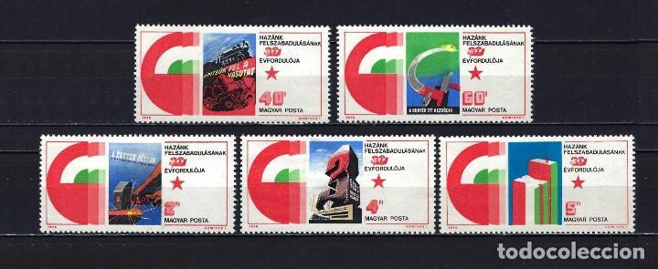 1975 HUNGRÍA MICHEL 3026/3030 YVERT 2432/2436 ANIVERSARIO LIBERACIÓN MNH** NUEVOS SIN FIJASELLOS (Sellos - Extranjero - Europa - Hungría)