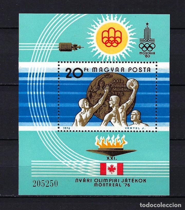 1976 HUNGRÍA MICHEL HB 122 YVERT HOJA BLOQUE 128 JUEGOS OLÍMPICOS DE MONTREAL MNH** NUEVO SIN FIJASE (Sellos - Extranjero - Europa - Hungría)