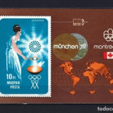 Sellos: 1973 HUNGRÍA MICHEL HB 96 YVERT HOJA BLOQUE 102 JUEGOS OLÍMPICOS MUNICH '72 MNH** NUEVO SIN FIJASELL. Lote 242166575