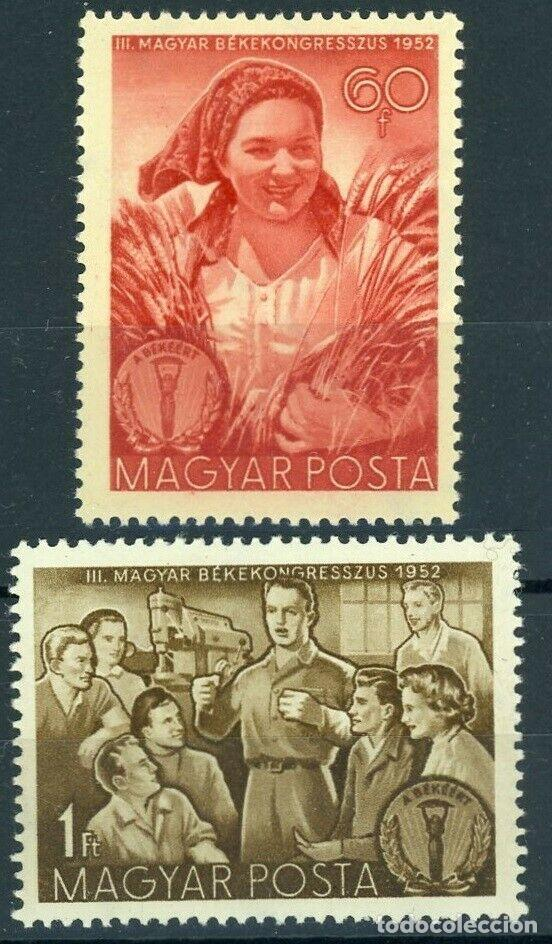 HUNGRÍA 1952 IVERT 1066/7 ** 3º CONGRESO NACIONAL POR LA PAZ (Sellos - Extranjero - Europa - Hungría)
