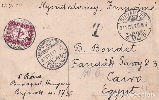 FRANQUEO CURIOSO, MARCA CORREOS, SOBRE TARJETA POSTAL BUDAPEST. HUNGRIA. (Sellos - Extranjero - Europa - Hungría)