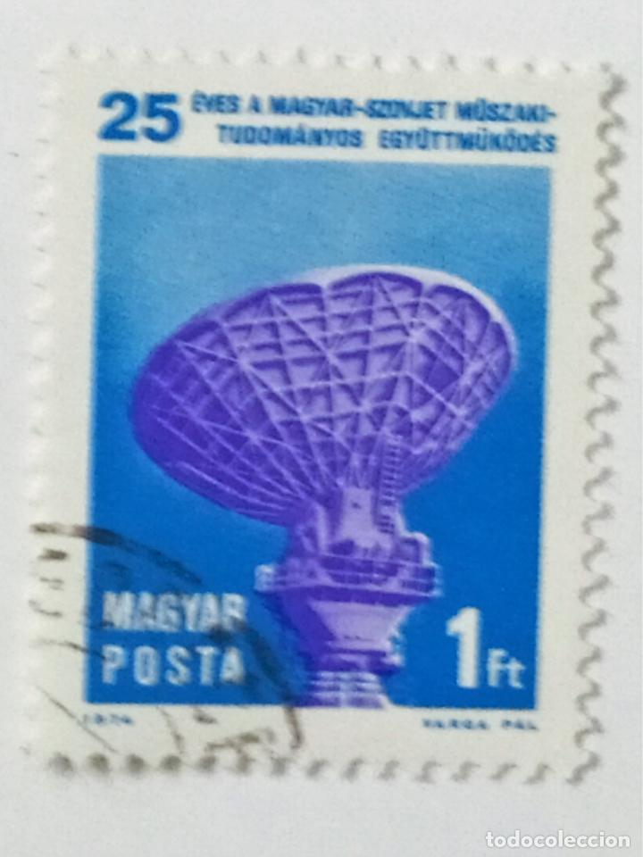 SELLO DE HUNGRIA 1 FT - 1974 - ANTENA PARABOLICA - USADO SIN SEÑAL DE FIJASELLOS (Sellos - Extranjero - Europa - Hungría)