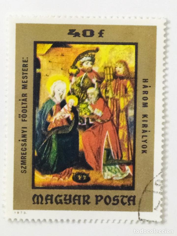 SELLO DE HUNGRIA 40 F - 1973 - REYES MAGOS - USADO SIN SEÑAL DE FIJASELLOS (Sellos - Extranjero - Europa - Hungría)