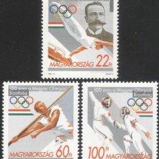 Sellos: HUNGRÍA 1995 IVERT 3511/3 *** CENTENARIO DEL COMITÉ OLÍMPICO HÚNGARO - DEPORTES. Lote 288673313