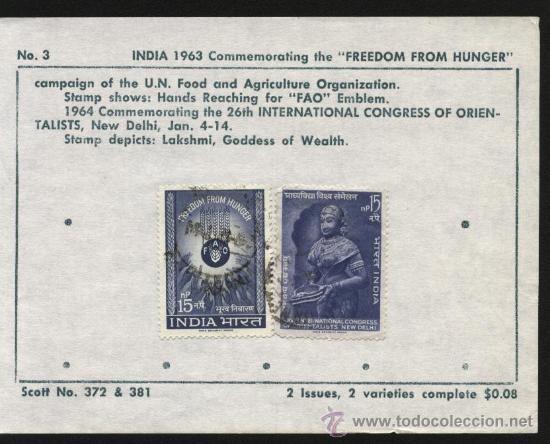 SELLOS INDIA 1963 FREEDOM FROM HUNGER (Sellos - Extranjero - Asia - India)