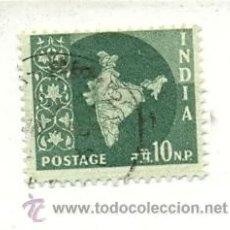 Sellos: 2INDIA-100. SELLO USADO INDIA. YVERT Nº 100. AÑO 1958/63. 10 N.P. SERIE BÁSICA. MAPA. Lote 24618598