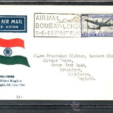 Sellos: INDIA A 2 SOBRE CON MATASELLO AIR MAIL 8-6-48 PRIMER VUELO BOMBAY-LONDON. Lote 25247788