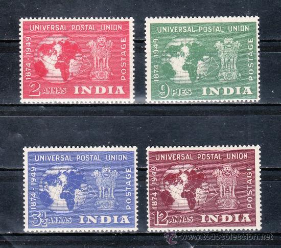 INDIA 23/6 CON CHARNELA, U.P.U., 75º ANIVERSARIO DE LA UNION POSTAL UNIVERSAL, (Sellos - Extranjero - Asia - India)