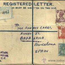 Sellos: SOBRE CERTIFICADO, CIRCULADO CON 4 SELLOS Y MATASELLOS DE LA INDIA - 1950. Lote 65031358