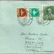 Sellos: SOBRE CIRCULADO CON 3 SELLOS DE INDIA Y MATASELLOS DE JABAL PUR CANTT - 1958. Lote 65031909
