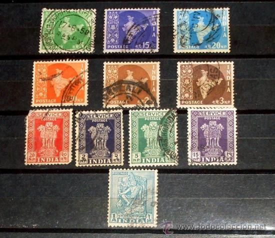 LOTE 11 SELLOS INDIA - USADOS (Sellos - Extranjero - Asia - India)