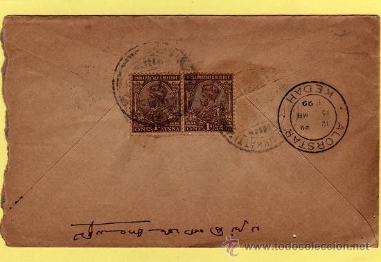 .INDIA COLONIA INGLESA, SOBRE CIRCULADO CON 2 SELLOS DE JORGE V (GEORGE V) MATASELLOS KEDAH 1929 (Sellos - Extranjero - Asia - India)