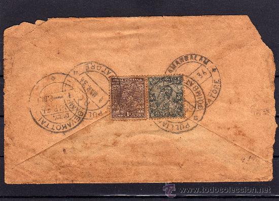 INDIA COLONIA DE INGLATERRA, CARTA CIRCULADA SELLOS DE JORGE V, MATASELLOS SALIDA Y LLEGADA AÑO 1936 (Sellos - Extranjero - Asia - India)