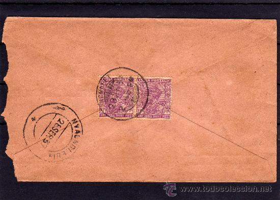 INDIA COLONIAL INGLESA, CARTA CIRCULADA SELLOS DE JORGE V ONE ANNA, MATASELLOS NYAUNGLEBIN (Sellos - Extranjero - Asia - India)