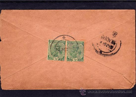 INDIA COLONIA INGLESA, SOBRE CIRCULADO CON 2 SELLOS DE JORGE V (GEORGE V) MATASELLOS KARAIKUDI 1934 (Sellos - Extranjero - Asia - India)