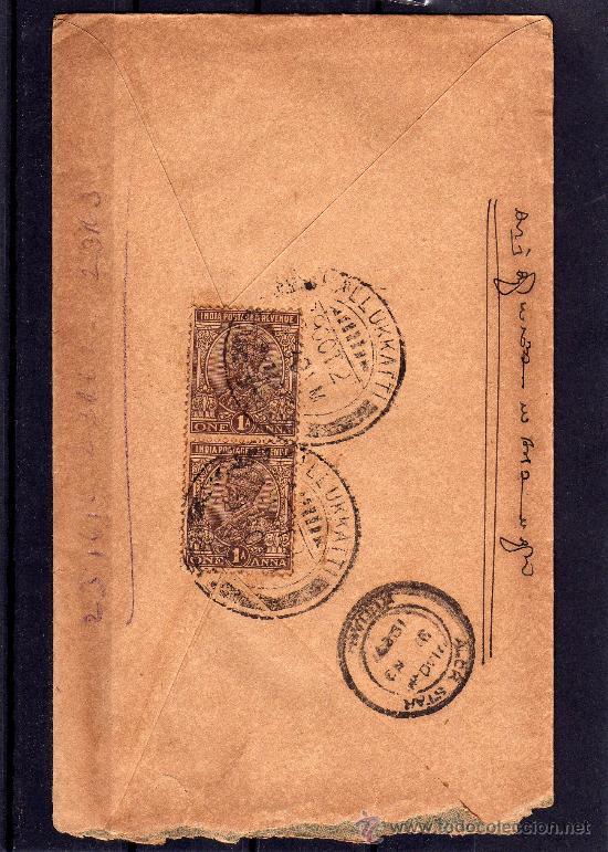 INDIA COLONIAL INGLESA, CARTA CIRCULADA SELLOS DE JORGE V ONE ANNA, MATASELLOS KEDAH AÑO 1927 (Sellos - Extranjero - Asia - India)