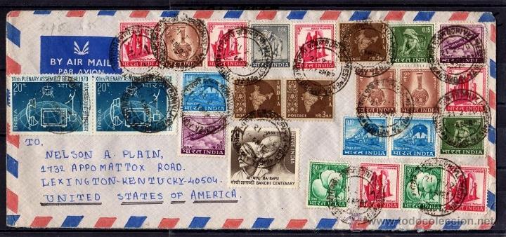 INTERESANTE CARTA CIRCULADA DE BOMBAY INDIA A ESTADOS UNIDOS DE AMERICA 1970, 39 SELLOS GANDHI.... (Sellos - Extranjero - Asia - India)