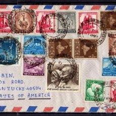 Sellos: INTERESANTE CARTA CIRCULADA DE BOMBAY INDIA A ESTADOS UNIDOS DE AMERICA 1970, 39 SELLOS GANDHI..... Lote 40537548