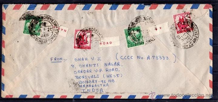 Sellos: INTERESANTE CARTA CIRCULADA DE BOMBAY, INDIA A ESTADOS UNIDOS DE AMERICA 1970, 22 SELLOS GANDHI.... - Foto 2 - 40537737