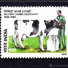 Sellos: INDIA 1030** - AÑO 1989 - CENTENARIO DE LAS GRANJAS MILITARES. Lote 142282981