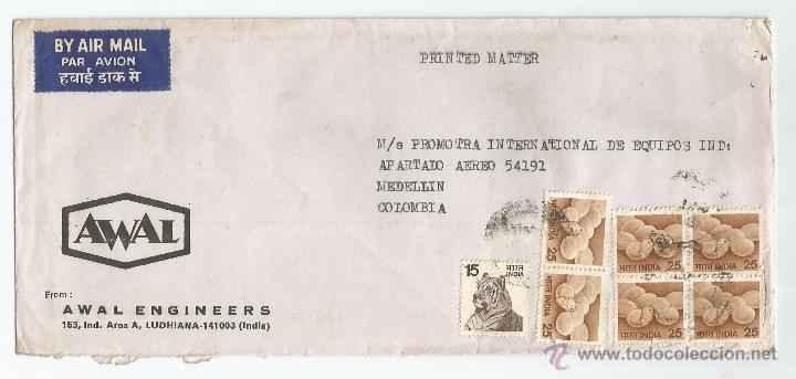 1980 - CORREO COMERCIAL DE INDIA A COLOMBIA - INDIA (Sellos - Extranjero - Asia - India)