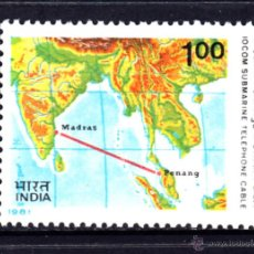 Sellos: INDIA 695** - AÑO 1981 - INAGURACION DEL CABLE TELEFONICO SUBMARINO MADRAS - PENANG. Lote 50199084