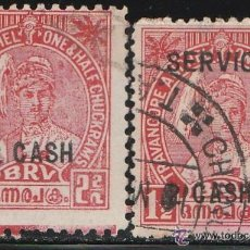 Sellos: 1945. TRAVANCORE ANCHEL ( INDIA ). 2 VALORES CON SOBRECARGA. * MH. Lote 51424537