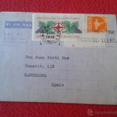 Sellos: CARTA AEROGRAMA DEL PADRE MISIONERO SALESIANO IGNACIO RUBIO DESDE INDIA DON BOSCO HIGH SCHOOL BOMBAY. Lote 54006788
