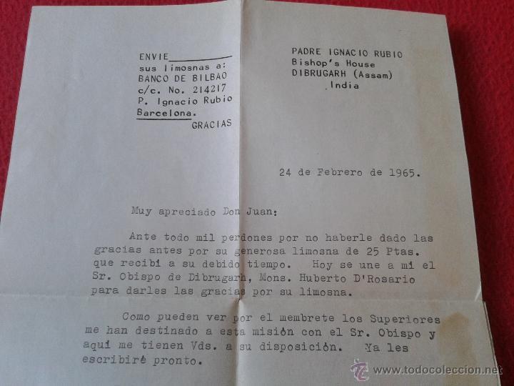 Sellos: CARTA AEROGRAMA DEL PADRE MISIONERO IGNACIO RUBIO DESDE INDIA VICARIO GENERAL DIBRUGARH ASSAM 1965 - Foto 5 - 54007174