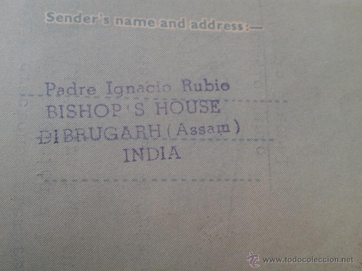 Sellos: CARTA AEROGRAMA DEL PADRE MISIONERO IGNACIO RUBIO DESDE INDIA VICARIO GENERAL DIBRUGARH ASSAM 1965 - Foto 7 - 54007174