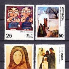 Sellos: INDIA 551/54** - AÑO 1978 - EXPOSICION TRIANUAL DE PINTURA CONTEMPORANEA. Lote 186461481