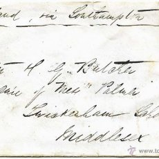Sellos: CARTA DE NARGAUM-BOMBAY (INDIA) A MIDDLESEX (INGLATERRA), 1865, SELLO 4 ANNAS . Lote 55010894