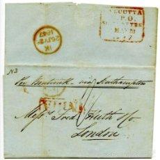 Sellos: ENVUELTA CIRCULADA DE CALCUTTA, INDIA, A LONDRES, INGLATERRA, EN 1847.. Lote 55809381