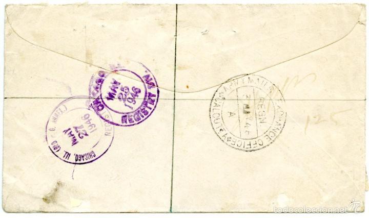 Sellos: Calcutta (India) a Chicago (USA), On Active Service, certificada y marca Army Mails Exchange 1946 - Foto 2 - 55937444