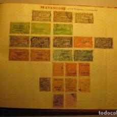 Sellos: LAMINA CON SELLOS ANTIGUOS DE TRAVANCORE ( INDIA INGLESA). Lote 64228747
