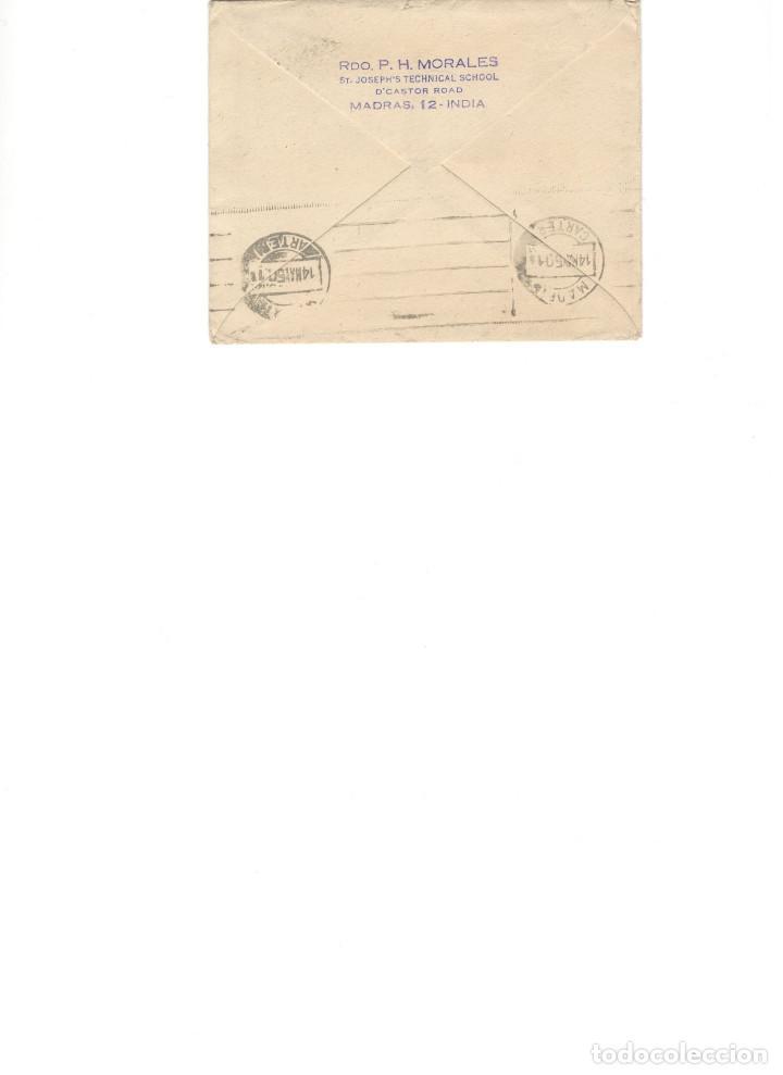 Sellos: Carta conteniendo el escrito, desde Madras (India) - Foto 2 - 80540585