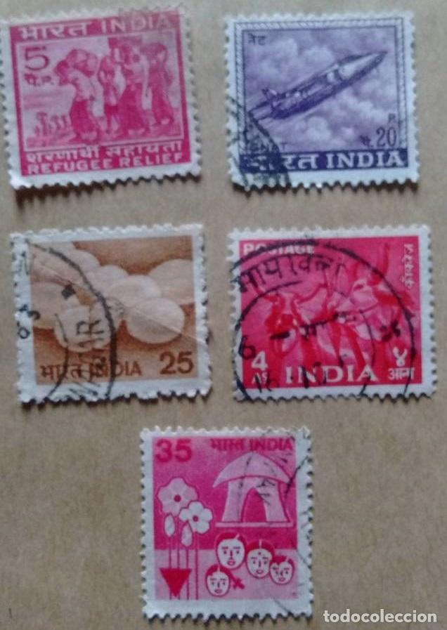 LOTE 5 SELLOS INDIA (Sellos - Extranjero - Asia - India)