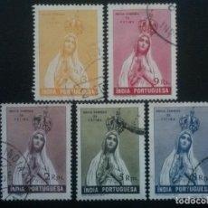 Sellos: INDIA , COLONIA PORTUGAL , YVERT Nº 413 414 417 418 Y 419 , 1949 , VIRGEN DE FÁTIMA. Lote 86022528