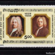 Sellos: INDIA 859** - AÑO 1985 - MUSICA - 3º CENTENARIO DEL NACIMIENTO DE LOS COMPOSITORES BACH Y HAENDEL. Lote 89715736