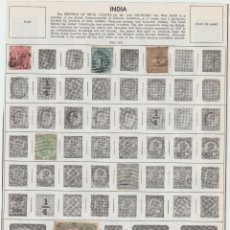 Sellos: HOJA CON SELLOS DE LA INDIA BRITANICA 1865-1949 USADA. Lote 95576571