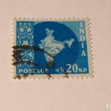 Sellos: SELLO INDIA USADO 1957. SERIE MAPA NACIONAL.. Lote 100371363