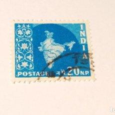 Sellos: SELLO INDIA USADO 1957. SERIE MAPA NACIONAL.. Lote 100371391