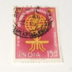 Sellos: SELLO INDIA USADO 1962. EL MUNDO CONTRA LA MALARIA.. Lote 100371531
